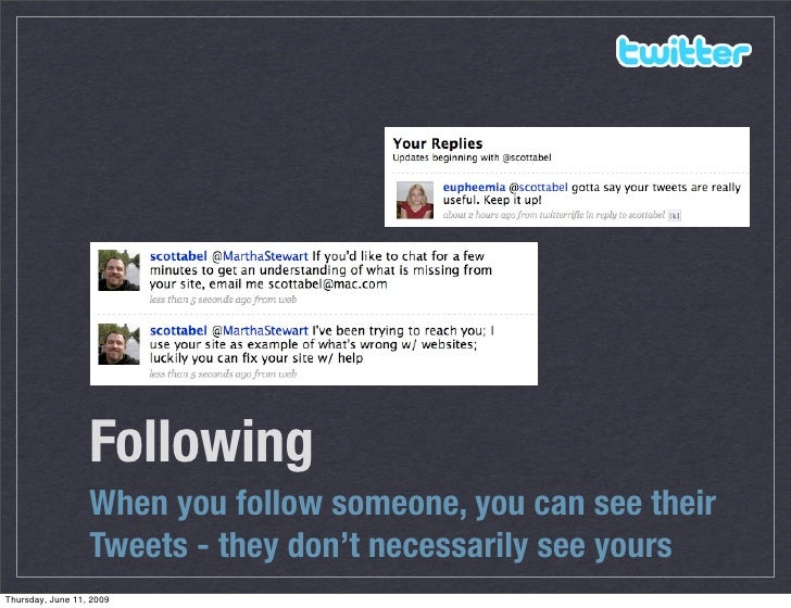Following                   When you follow someone, you can see their                   Tweets - they don't necessarily s...