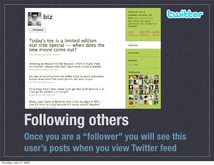 """Following others                   Once you are a """"follower"""" you will see this                   user's posts when you vie..."""