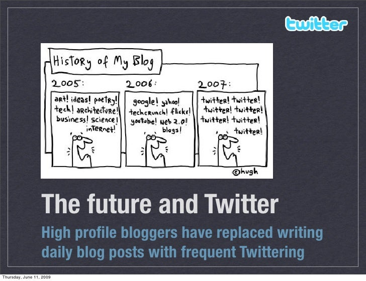 The future and Twitter                   High profile bloggers have replaced writing                   daily blog posts wit...