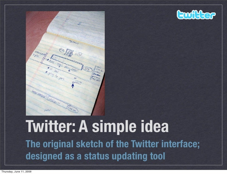 Twitter: A simple idea                   The original sketch of the Twitter interface;                   designed as a sta...