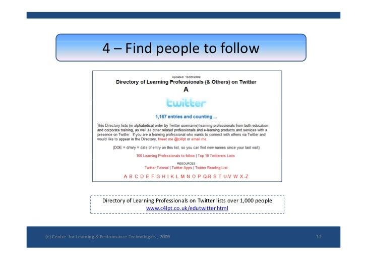 4– Findpeopletofollow                               DirectoryofLearningProfessionalsonTwitterlistsover1,000pe...