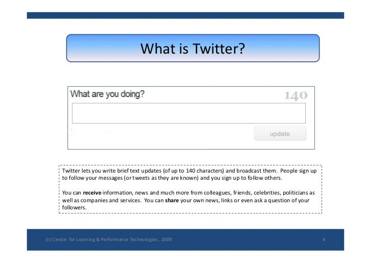 WhatisTwitter?            Twitterletsyouwritebrieftextupdates(ofupto140characters)andbroadcastthem.Peopl...
