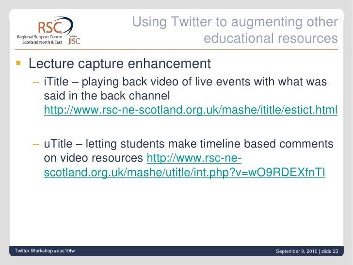 Feedback tweet with hashtag #eas10tw<br />Twitter Workshop #eas10tw<br />September 9, 2010| slide 22<br />