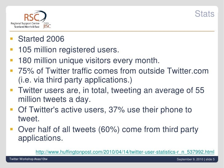 Stats<br />Started 2006<br />105 million registered users.<br />180 million unique visitors every month.<br />75% of Twitt...