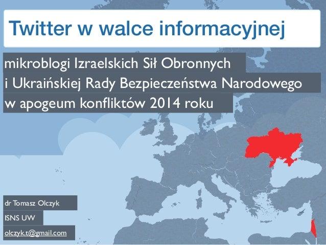 Twitter w walce informacyjnej mikroblogi Izraelskich Sił Obronnych i Ukraińskiej Rady Bezpieczeństwa Narodowego w apogeum ...
