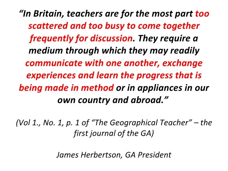 """"""" In Britain, teachers are for the most part  too scattered and too busy to come together frequently for discussion . They..."""