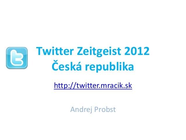 Twitter Zeitgeist 2012  Česká republika   http://twitter.mracik.sk       Andrej Probst