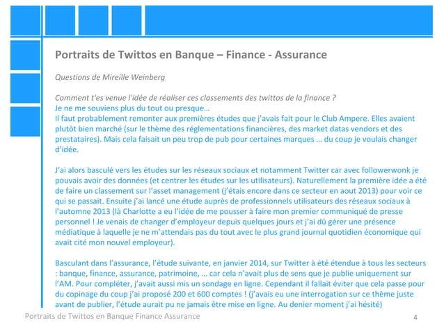 4 Portraits de Twittos en Banque – Finance - Assurance Questions de Mireille Weinberg Comment t'es venue l'idée de réalise...