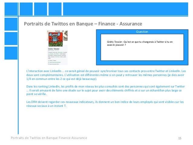 15 Portraits de Twittos en Banque – Finance - Assurance Portraits de Twittos en Banque Finance Assurance Cédric Tessier : ...