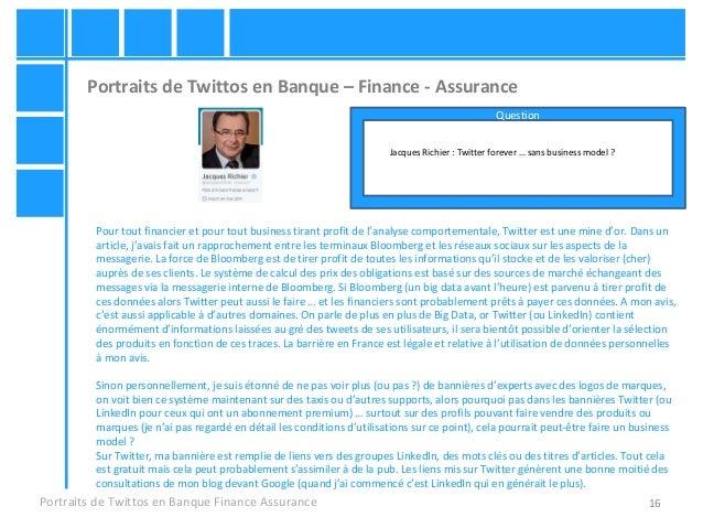 16 Portraits de Twittos en Banque – Finance - Assurance Portraits de Twittos en Banque Finance Assurance Jacques Richier :...