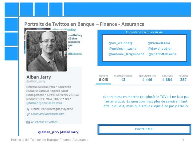 2 Portraits de Twittos en Banque – Finance - Assurance Portraits de Twittos en Banque Finance Assurance @alban_jarry (Alba...