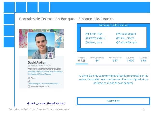 12 Portraits de Twittos en Banque – Finance - Assurance Portraits de Twittos en Banque Finance Assurance @david_audran (Da...
