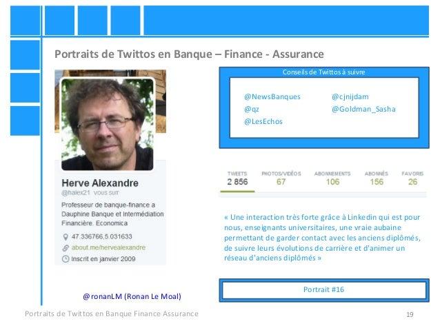 19 Portraits de Twittos en Banque – Finance - Assurance Portraits de Twittos en Banque Finance Assurance @ronanLM (Ronan L...