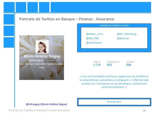 20 Portraits de Twittos en Banque – Finance - Assurance Portraits de Twittos en Banque Finance Assurance @mhseguy (Marie-H...