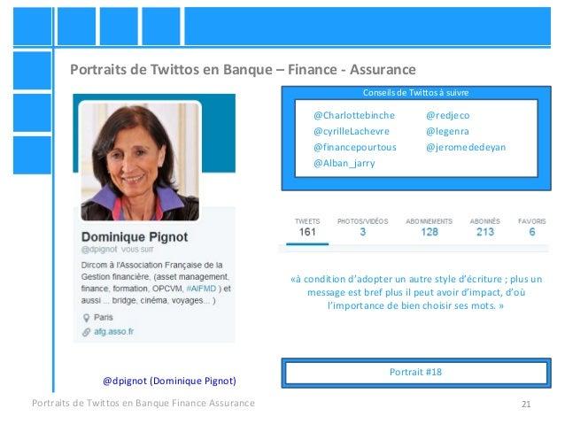 21 Portraits de Twittos en Banque – Finance - Assurance Portraits de Twittos en Banque Finance Assurance @dpignot (Dominiq...