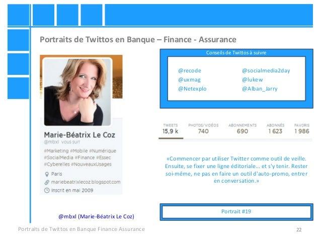 22 Portraits de Twittos en Banque – Finance - Assurance Portraits de Twittos en Banque Finance Assurance @mbxl (Marie-Béat...
