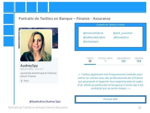 23 Portraits de Twittos en Banque – Finance - Assurance Portraits de Twittos en Banque Finance Assurance @SpyAudrey (Audre...