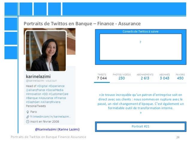 24 Portraits de Twittos en Banque – Finance - Assurance Portraits de Twittos en Banque Finance Assurance @karinelazimi (Ka...