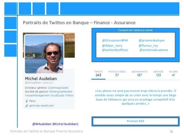 32 Portraits de Twittos en Banque – Finance - Assurance Portraits de Twittos en Banque Finance Assurance @MAudeban (Michel...
