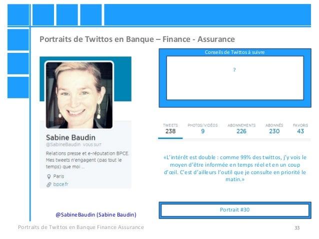 33 Portraits de Twittos en Banque – Finance - Assurance Portraits de Twittos en Banque Finance Assurance @SabineBaudin (Sa...