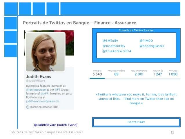 52 Portraits de Twittos en Banque – Finance - Assurance Portraits de Twittos en Banque Finance Assurance @JudithREvans (Ju...