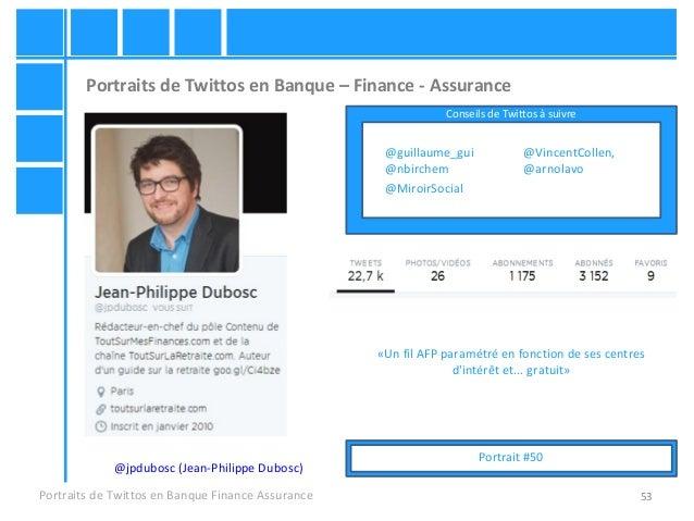 53 Portraits de Twittos en Banque – Finance - Assurance Portraits de Twittos en Banque Finance Assurance @jpdubosc (Jean-P...
