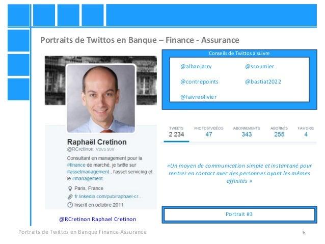 6 Portraits de Twittos en Banque – Finance - Assurance Portraits de Twittos en Banque Finance Assurance @RCretinon Raphael...