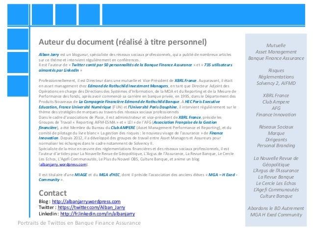 Portraits de Twittos en Banque Finance Assurance Mutuelle Asset Management Banque Finance Assurance Risques Réglementation...
