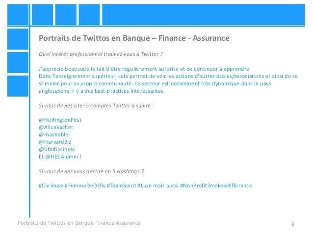 6 Portraits de Twittos en Banque – Finance - Assurance Quel intérêt professionnel trouvez-vous à Twitter ? J'apprécie beau...