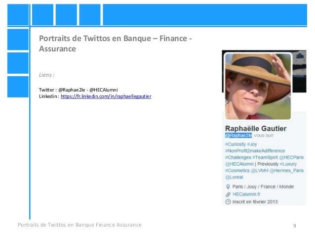 9 Portraits de Twittos en Banque – Finance - Assurance Liens : Twitter : @Raphae2le - @HECAlumni Linkedin : https://fr.lin...