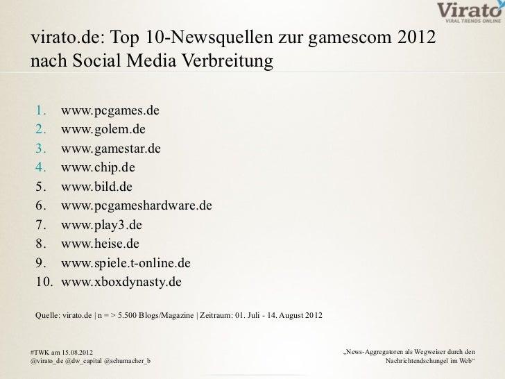 virato.de: Top 10-Newsquellen zur gamescom 2012nach Social Media Verbreitung 1.      www.pcgames.de 2.      www.golem.de 3...