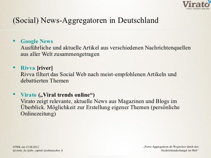 (Social) News-Aggregatoren in Deutschland Google News  Ausführliche und aktuelle Artikel aus verschiedenen Nachrichtenque...