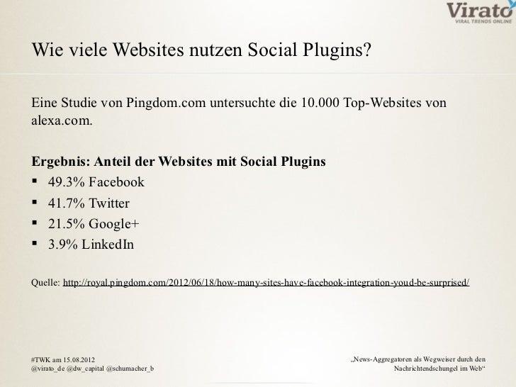 Wie viele Websites nutzen Social Plugins?Eine Studie von Pingdom.com untersuchte die 10.000 Top-Websites vonalexa.com.Erge...