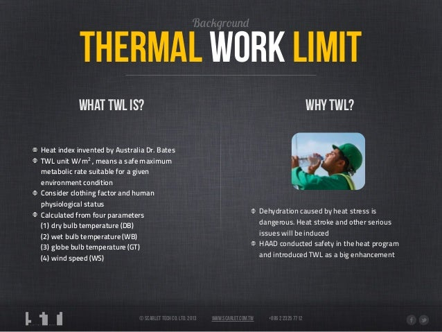 Safety In The Heat Thermal Work Limit And Scarlet Tech