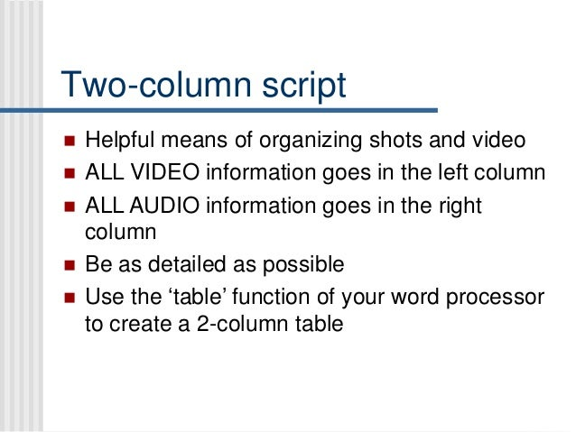 Brief Overview Of 2 Column Format 3 Two Script