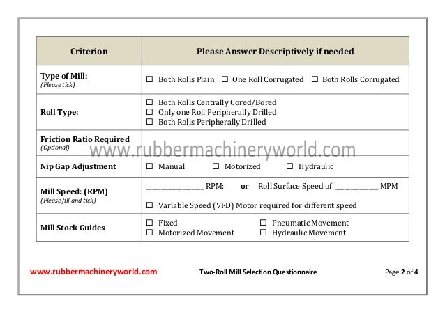 www.rubbermachineryworld.com Two-Roll Mill Selection Questionnaire Page 2 of 4 Criterion Please Answer Descriptively if ne...