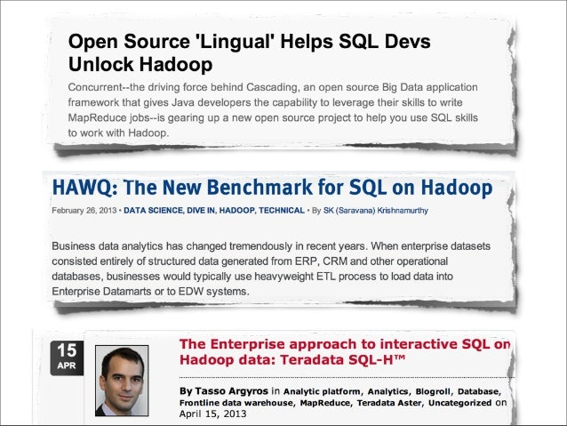 It takes two to tango! Is SQL-on-Hadoop the next big step?