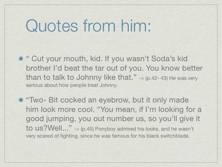 Ponyboy Quotes Custom Two Bit Character Analysis Copy