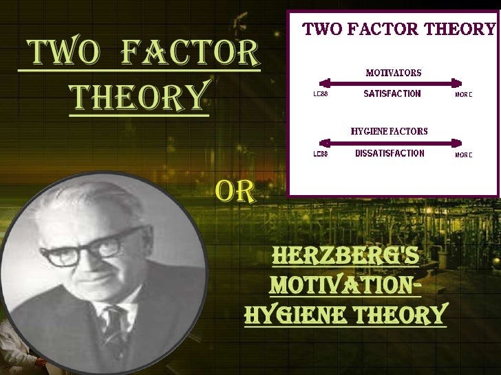 herzbergs two factor theory of motivation Herzberg's theory of motivation also known as the two- factor theory is based on the principle that job satisfaction and dissatisfaction act independent to each other at any workplace, some particular factors can be attributed to job satisfaction while other factors are responsible for job dissatisfaction.