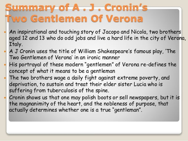 two gentlemen of verona summary of a j cronin s two gentlemen