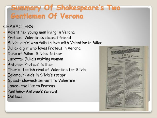summary of two gentlemen of verona Check your understanding of ''the two gentlemen of verona'' with an interactive quiz and printable worksheet the multiple-choice questions can be.
