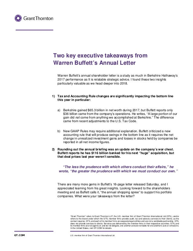 warren buffets annual letter grant thornton refers to grant thornton llp the us member firm of grant