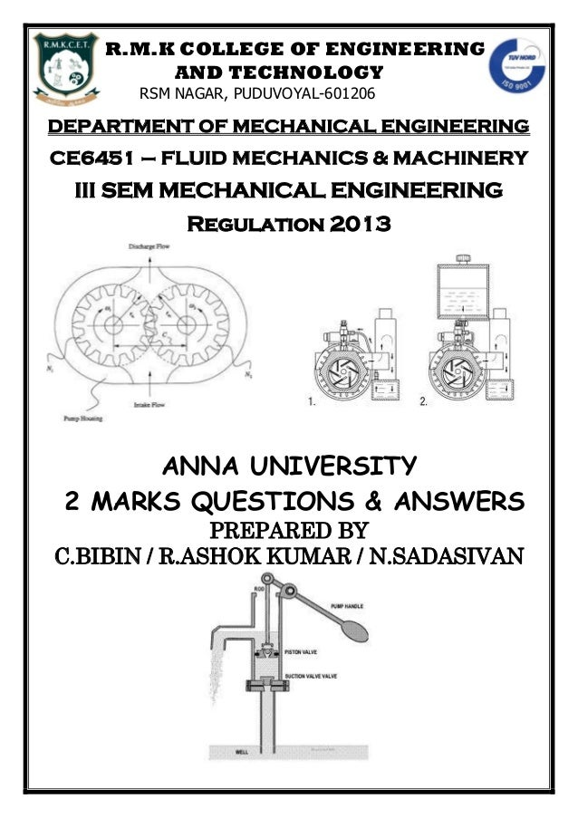 ANNA UNIVERSITY TWO MARK QUSTIONS WITH ANSWERS FOR FLUID MECHANICS AN…