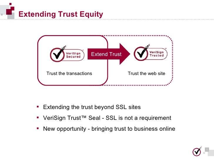 Extending Trust Equity Trust the transactions Trust the web site Extend Trust <ul><li>Extending the trust beyond SSL sites...
