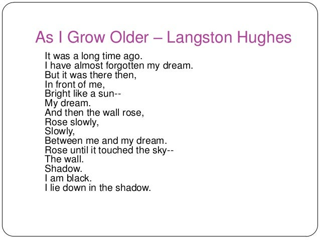 langston hughes as i grew older Langston hughes - poet - a poet, novelist, fiction writer, and playwright, langston hughes is known for his insightful, colorful portrayals of black life in america from the twenties through the sixties and was important in shaping the artistic contributions of the harlem renaissance.