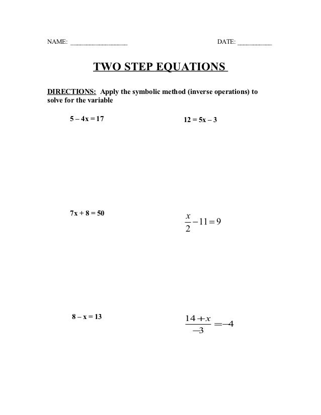 Two step equations quiz-practice