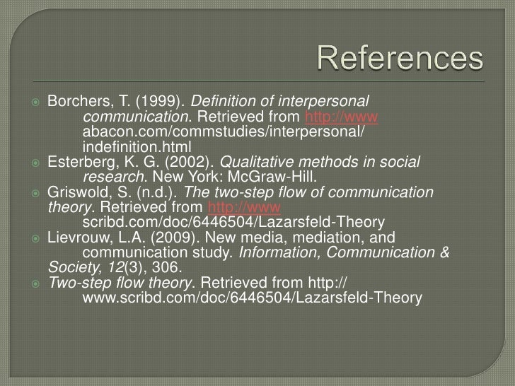 References<br />Borchers, T. (1999). Definition of interpersonal communication. Retrieved from http://www<br />abacon.c...