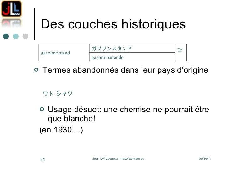 Des couches historiques <ul><li>Termes abandonnés dans leur pays d'origine </li></ul><ul><li>Usage désuet: une chemise ne ...