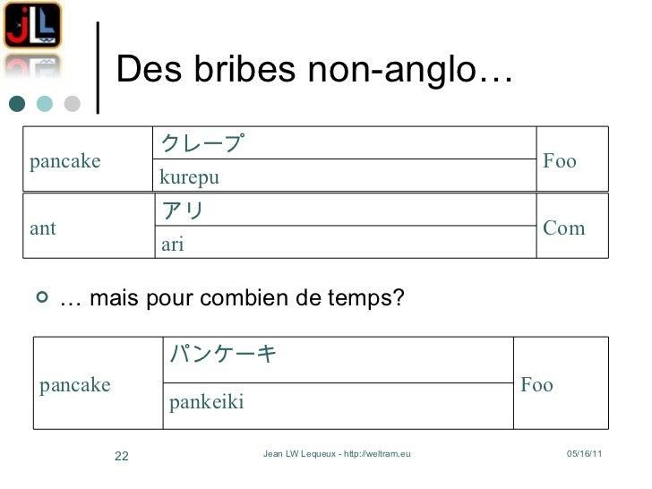 Des bribes non-anglo… <ul><li>…  mais pour combien de temps? </li></ul>ari Com アリ ant kurepu Foo クレープ pancake pankeiki Foo...