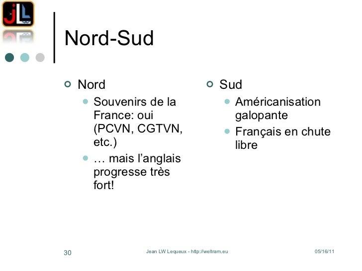 Nord-Sud <ul><li>Nord </li></ul><ul><ul><li>Souvenirs de la France: oui (PCVN, CGTVN, etc.) </li></ul></ul><ul><ul><li>…  ...